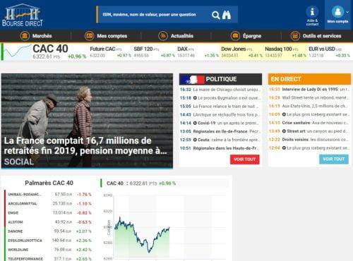 Avis Bourse Direct page d'accueil actualités