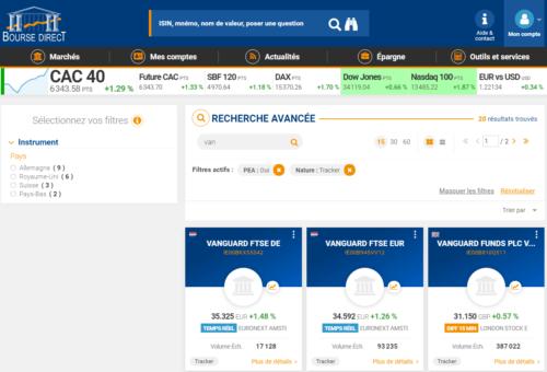 Avis Bourse Direct recherche exemple tracker PEA vanguard